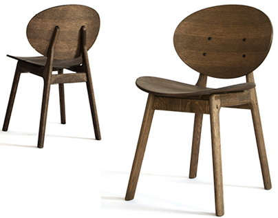 One a wooden chair in smoked oak