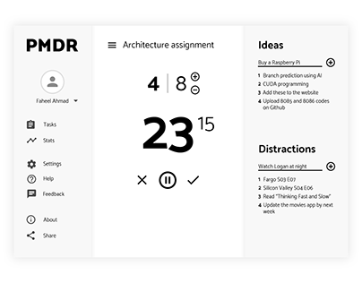 PMDR: An app based on the Pomodoro technique