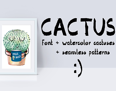 Cactus-font, watercolor cactuses, seamless patterns.