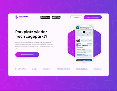 Landing Page for app of car's false parking