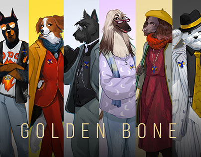 "Character design Community of dogs ""GOLDEN BONE"""
