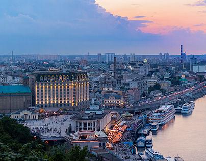 Night Kiev, River port