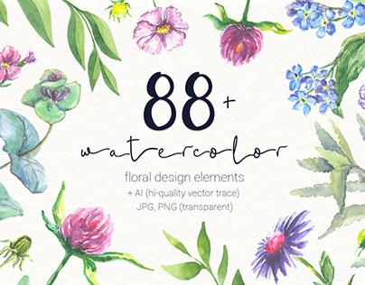 87 warercolor floral set PNG+JPG+AI