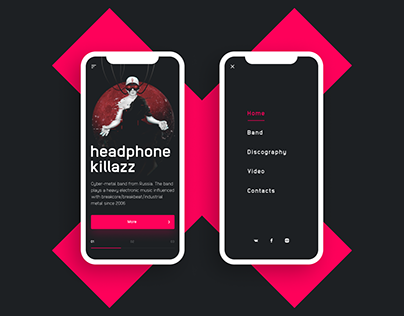 Headphone Killazz band web interface UI / UX