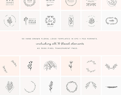 50 Floral Hand Drawn Logo Templates