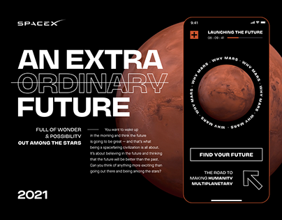 SpaceX: Mars Mission — landing page concept