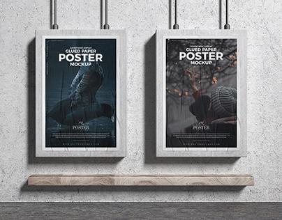 Advertising Display Glued Paper Posters Mockup Free