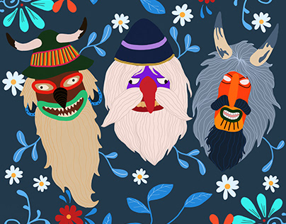 Romanian traditional masks - Digital Illustration