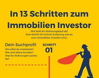"Infografik ""In 13 Schritten zum Immobilien Investor"""