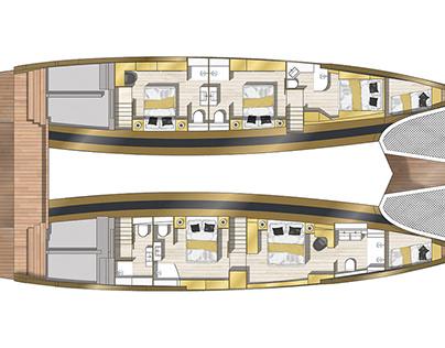 Catamaran 2D floor plan