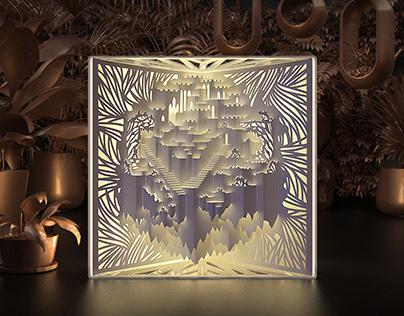 KIRUMA: Kirigami Lamp of a Castle in the Sky