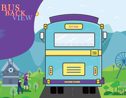Bus BACK view design work, Bus Illustration Design.