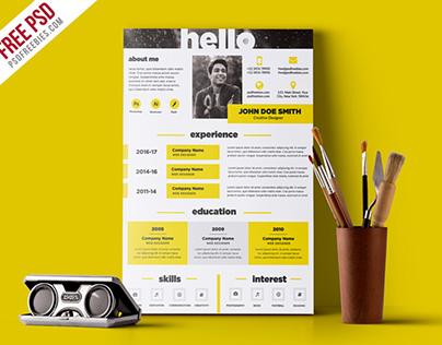 Free PSD : Creative and Elegant Resume Template PSD