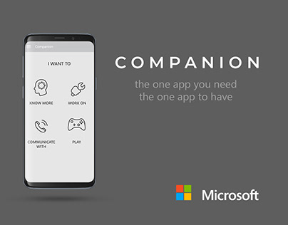 UI Design and Wireframes for Microsoft Companion App