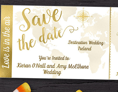 Travel Boarding Pass Save the Date