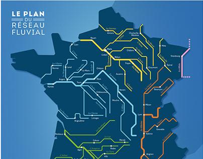Le plan du réseau fluvial de France