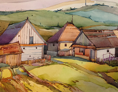 Country houses watercolor