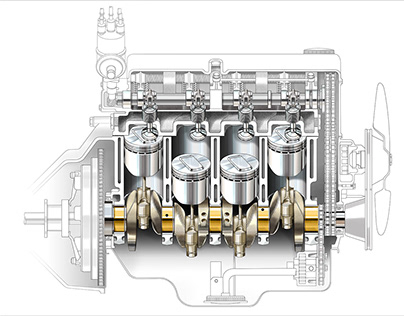 Cross section engine illustrations for Haggerty.