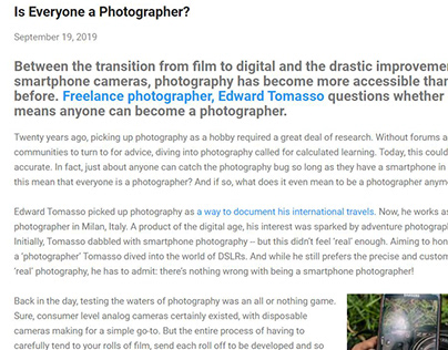 What it means to be a Photographer