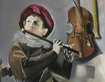 Judith Leyster child playing flute painting