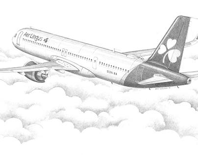 Aer Lingus A321 Neo LR pencil study
