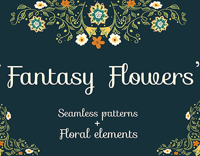Project 2. Set of seamless patterns and floral elements