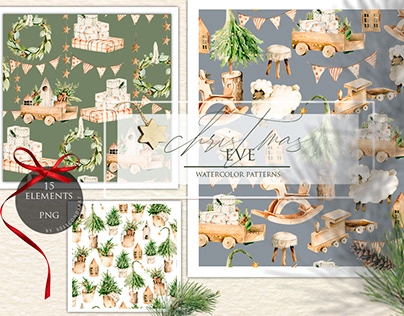 Christmas holiday patterns. Watercolor nursery clipart