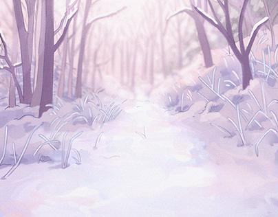 Snowy comic Landscape