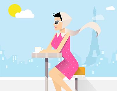Tea in Paris (Digital Vector Art)