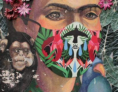 Illustration project   Mask design for Frida Kahlo