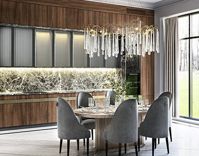 Visualization of kitchen/dining room in private house