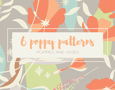 6 Poppy Seamless Patterns