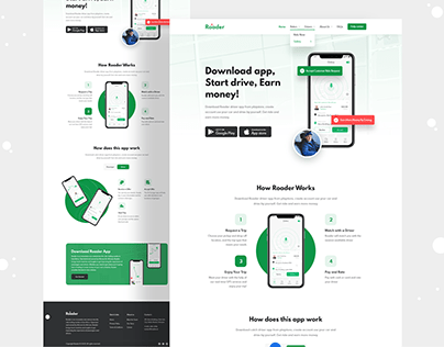 Ride Sharing Mobile App Landing Page