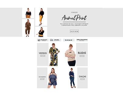 Layout para o site de uma marca de moda Plus Size