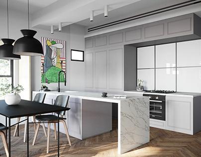 Квартира в стиле Лофт 3D визуализация