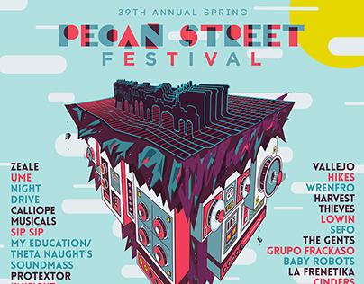 Pecan Street Festival - Gig Poster - Austin TX