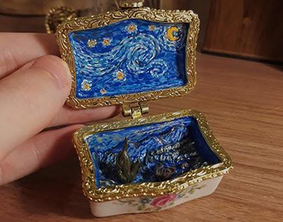 Arte Van Gogh em porta joias em miniatura