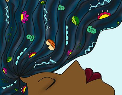 Ilustración Mujer-Cabello-Naturaleza