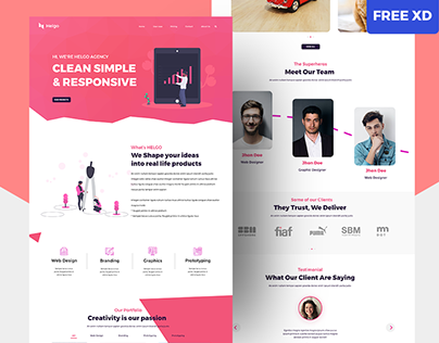 One page landing page for Agency (Free XD File)