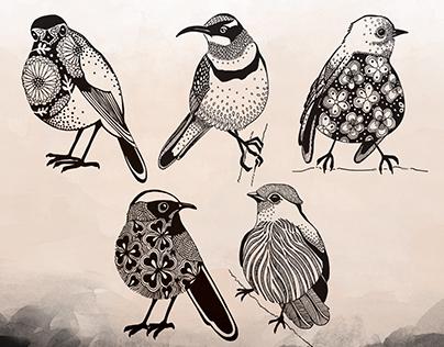 """My """"tiny birds"""" holiday doodling"""
