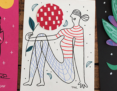 Paper Collage Drawings for Minted