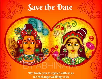 Kerala Wedding Invite design in Kerala Mural folk art