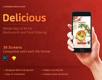 Delicious - Restaurants & Food Ordering Mobile Apps UI