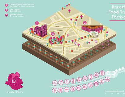"Isometric Map ""Brussels Food Truck Festival"""