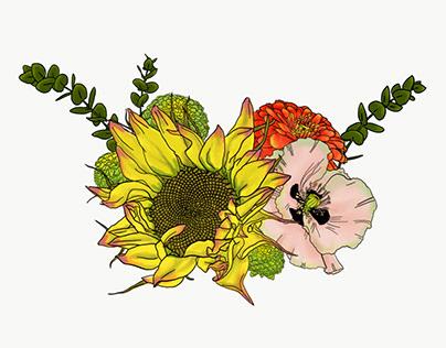 Floral and Botanical Bouquet Illustration