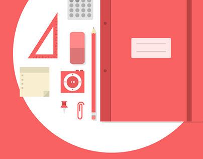 Flat design desk