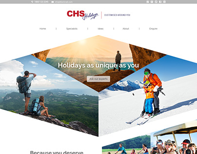 Homepage design for CHS Holidays
