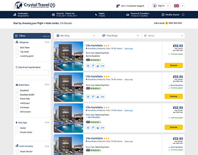 Hotel Booking Flow For Crystal Travel