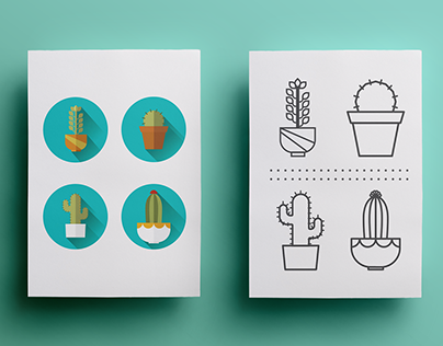 Cactus: illustration and pattern