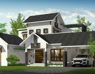 Sloping roof 4 bedroom house in 3000 square feet